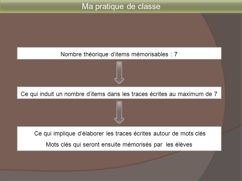 Ma pratique de classe Nombre théorique d'items mémorisables : 7 Ce qui induit un nombre d'items dans les traces écrites au maximum de 7 Ce qui impliqu