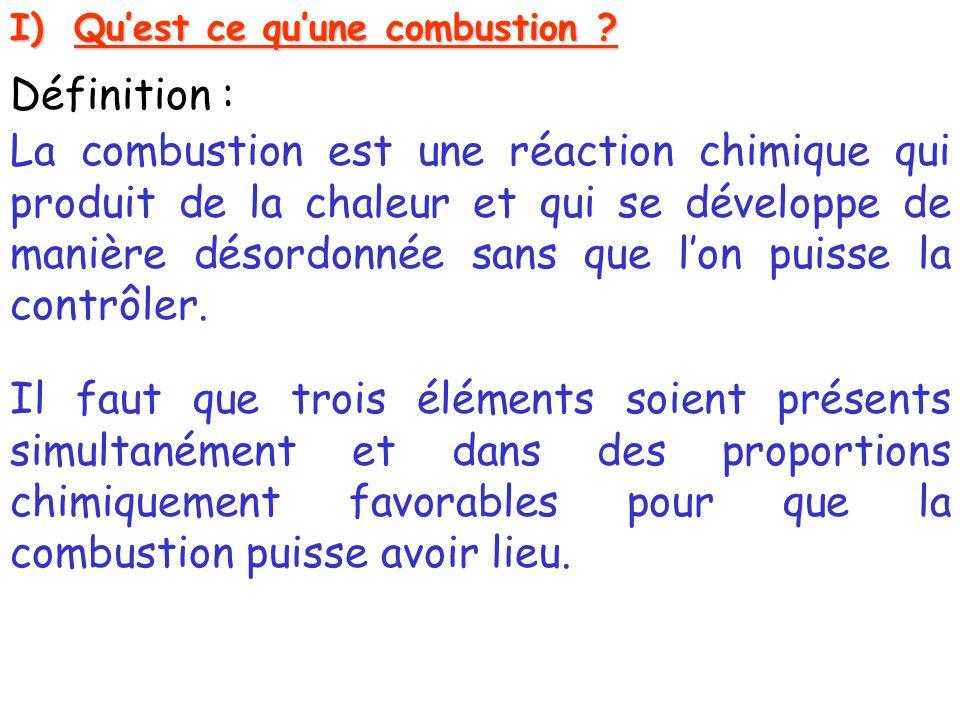 I)Qu'est ce qu'une combustion ? Définition : La combustion est une réaction chimique qui produit de la chaleur et qui se développe de manière désordon