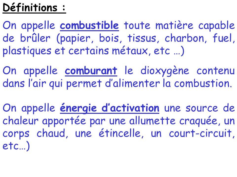 Définitions : On appelle combustible toute matière capable de brûler (papier, bois, tissus, charbon, fuel, plastiques et certains métaux, etc …) On ap