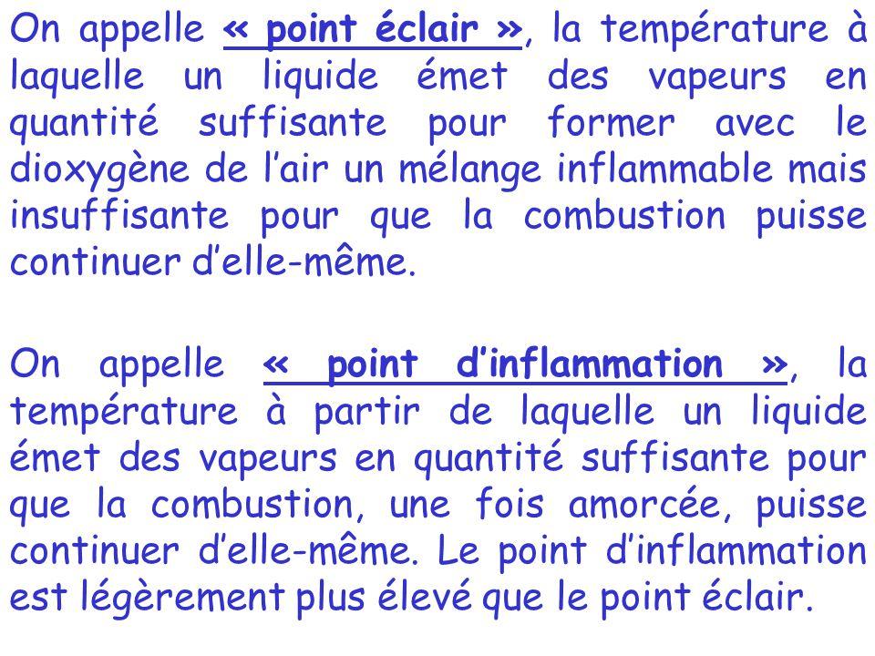 On appelle « point d'inflammation », la température à partir de laquelle un liquide émet des vapeurs en quantité suffisante pour que la combustion, un