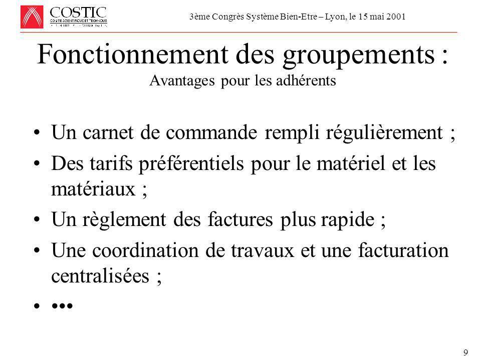 Réunion de la Commission Economique et Technique de l'UCF le 24 avril 2001 MAINTENANCE, MISE AU POINT et COMMISSIONNEMENT 9 Fonctionnement des groupements : Avantages pour les adhérents 3ème Congrès Système Bien-Etre – Lyon, le 15 mai 2001 •Un carnet de commande rempli régulièrement ; •Des tarifs préférentiels pour le matériel et les matériaux ; •Un règlement des factures plus rapide ; •Une coordination de travaux et une facturation centralisées ; ••••