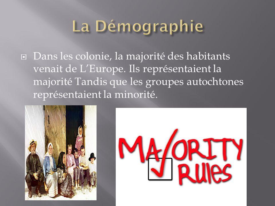  Dans les colonie, la majorité des habitants venait de L'Europe. Ils représentaient la majorité Tandis que les groupes autochtones représentaient la