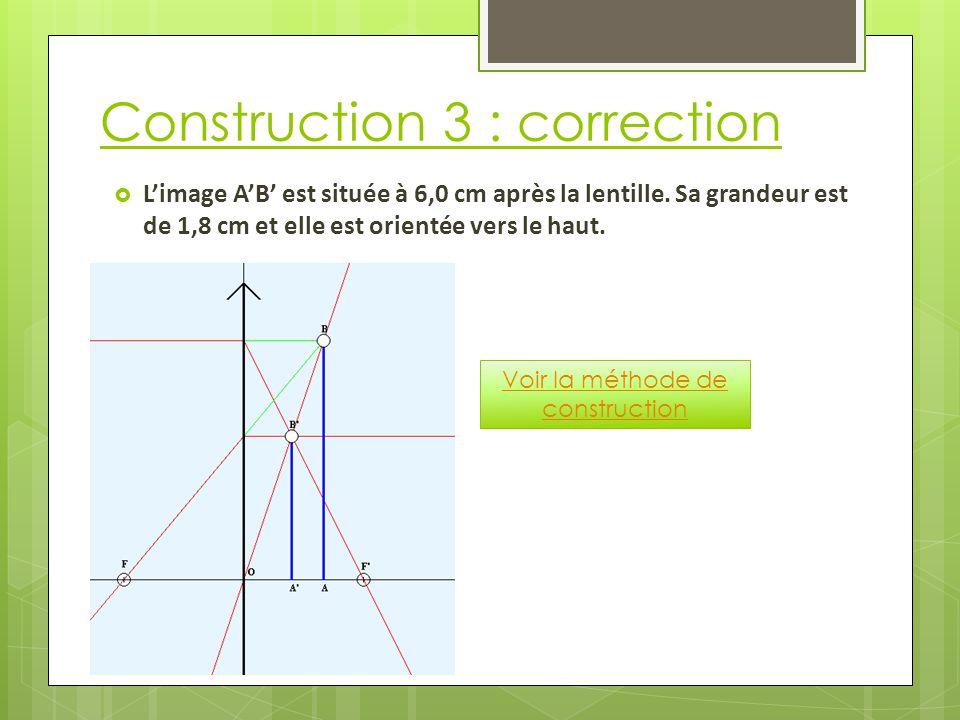 Construction 3 : correction  L'image A'B' est située à 6,0 cm après la lentille.