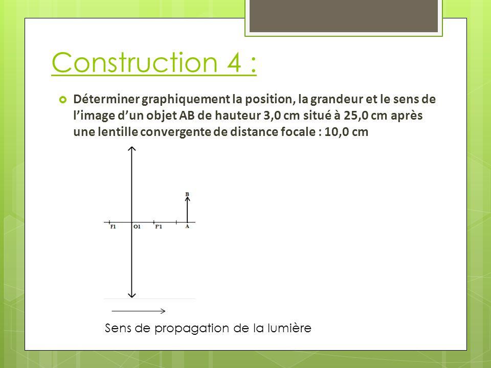 Construction 4 : Sens de propagation de la lumière  Déterminer graphiquement la position, la grandeur et le sens de l'image d'un objet AB de hauteur 3,0 cm situé à 25,0 cm après une lentille convergente de distance focale : 10,0 cm