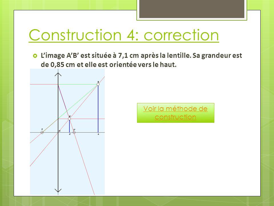 Construction 4: correction  L'image A'B' est située à 7,1 cm après la lentille.