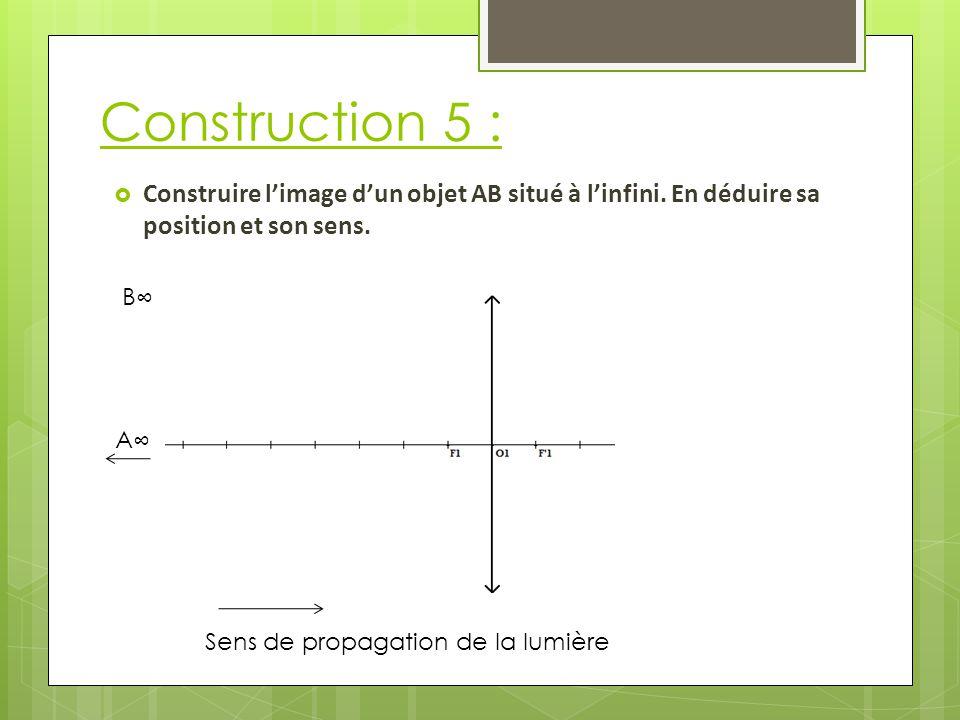 Construction 5 : Sens de propagation de la lumière  Construire l'image d'un objet AB situé à l'infini.