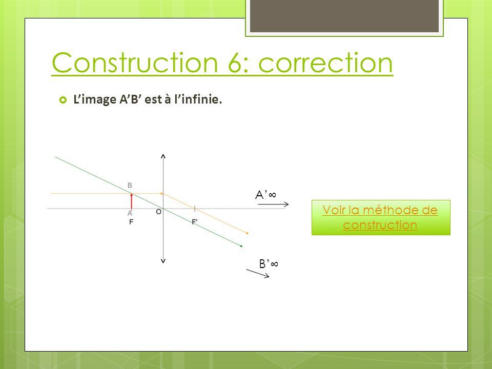 Construction 6: correction  L'image A'B' est à l'infinie. Voir la méthode de construction A'∞ B'∞