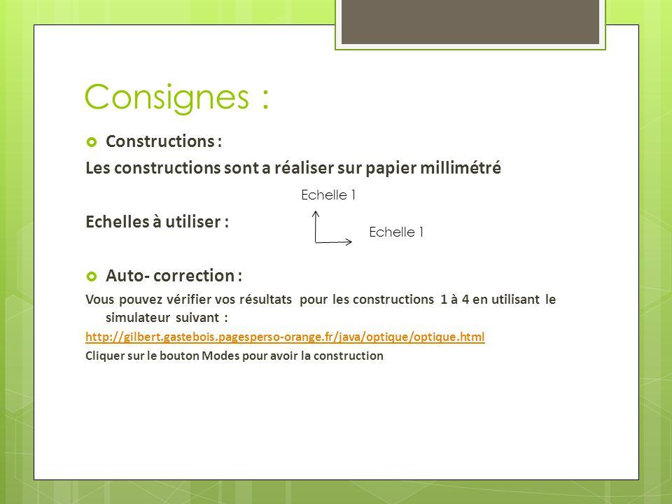 Consignes :  Constructions : Les constructions sont a réaliser sur papier millimétré Echelles à utiliser :  Auto- correction : Vous pouvez vérifier vos résultats pour les constructions 1 à 4 en utilisant le simulateur suivant : http://gilbert.gastebois.pagesperso-orange.fr/java/optique/optique.html Cliquer sur le bouton Modes pour avoir la construction Echelle 1