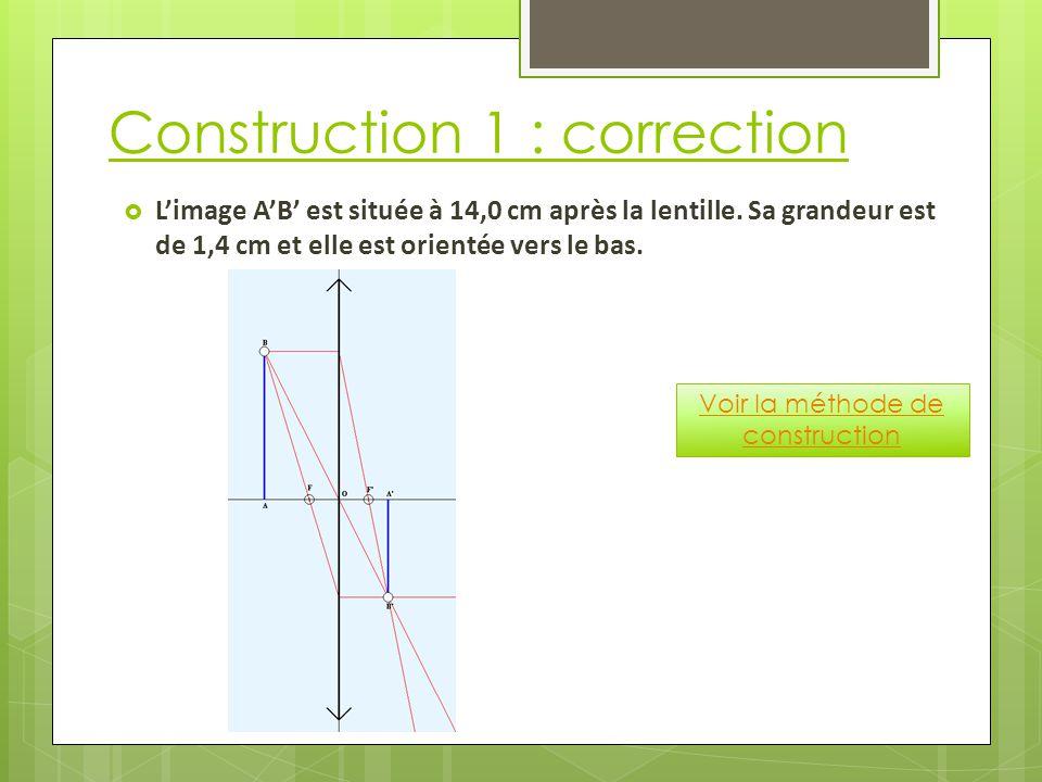 Construction 1 : correction  L'image A'B' est située à 14,0 cm après la lentille.