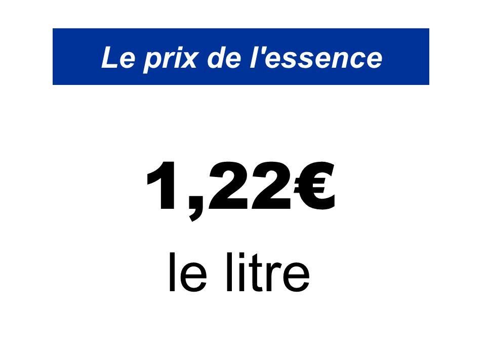 Le prix de l'essence 1,22€ le litre