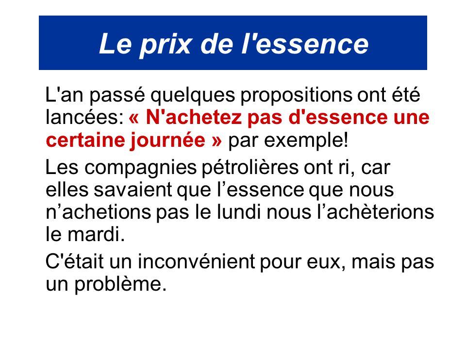 Le prix de l'essence L'an passé quelques propositions ont été lancées: « N'achetez pas d'essence une certaine journée » par exemple! Les compagnies pé