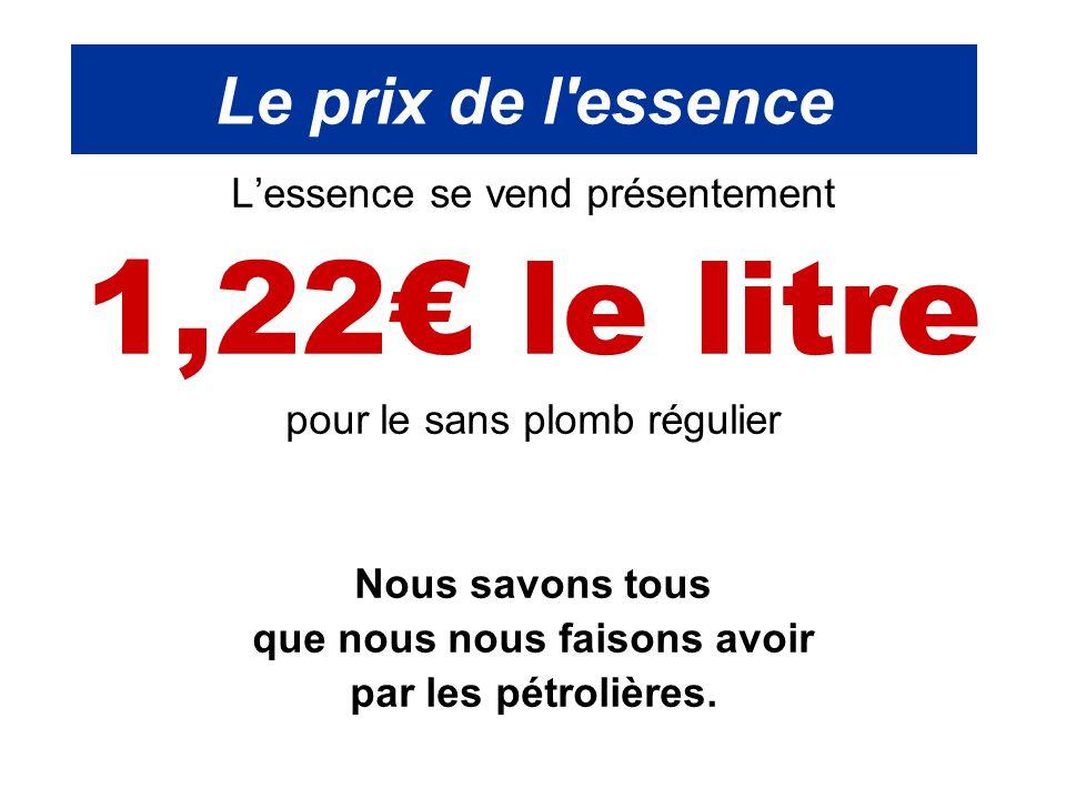 Le prix de l'essence L'essence se vend présentement 1,22€ le litre pour le sans plomb régulier Nous savons tous que nous nous faisons avoir par les pé