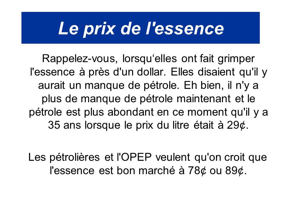 Le prix de l'essence Rappelez-vous, lorsqu'elles ont fait grimper l'essence à près d'un dollar. Elles disaient qu'il y aurait un manque de pétrole. Eh