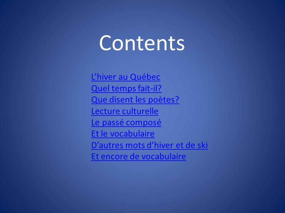 • Une patinoire • La glace • Le patin à glace • Un patin Return to contents Return to contents