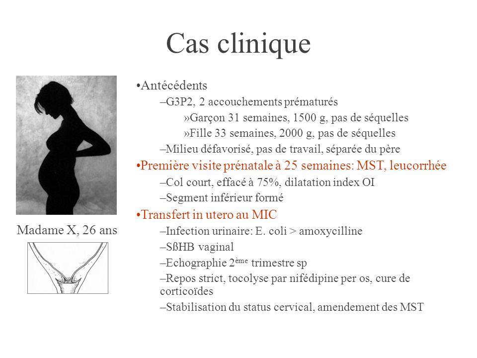 Madame X, 26 ans Cas clinique •Antécédents –G3P2, 2 accouchements prématurés »Garçon 31 semaines, 1500 g, pas de séquelles »Fille 33 semaines, 2000 g, pas de séquelles –Milieu défavorisé, pas de travail, séparée du père •Première visite prénatale à 25 semaines: MST, leucorrhée –Col court, effacé à 75%, dilatation index OI –Segment inférieur formé •Transfert in utero au MIC –Infection urinaire: E.