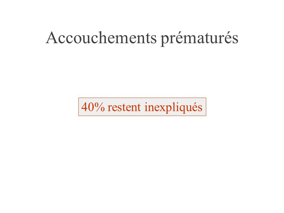 Accouchements prématurés 40% restent inexpliqués