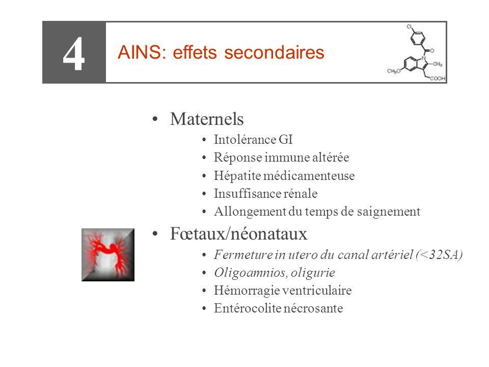 •Maternels •Intolérance GI •Réponse immune altérée •Hépatite médicamenteuse •Insuffisance rénale •Allongement du temps de saignement •Fœtaux/néonataux •Fermeture in utero du canal artériel (<32SA) •Oligoamnios, oligurie •Hémorragie ventriculaire •Entérocolite nécrosante 4 AINS: effets secondaires