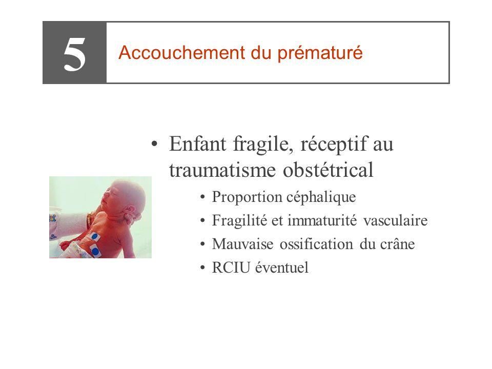 •Enfant fragile, réceptif au traumatisme obstétrical •Proportion céphalique •Fragilité et immaturité vasculaire •Mauvaise ossification du crâne •RCIU éventuel 5 Accouchement du prématuré
