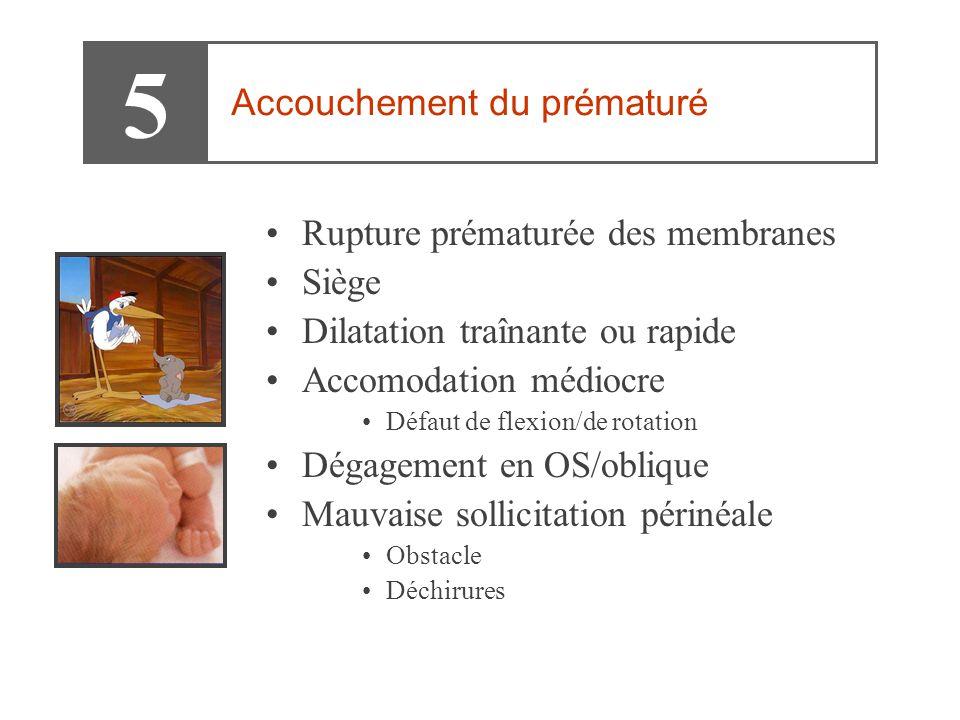 •Rupture prématurée des membranes •Siège •Dilatation traînante ou rapide •Accomodation médiocre •Défaut de flexion/de rotation •Dégagement en OS/obliq