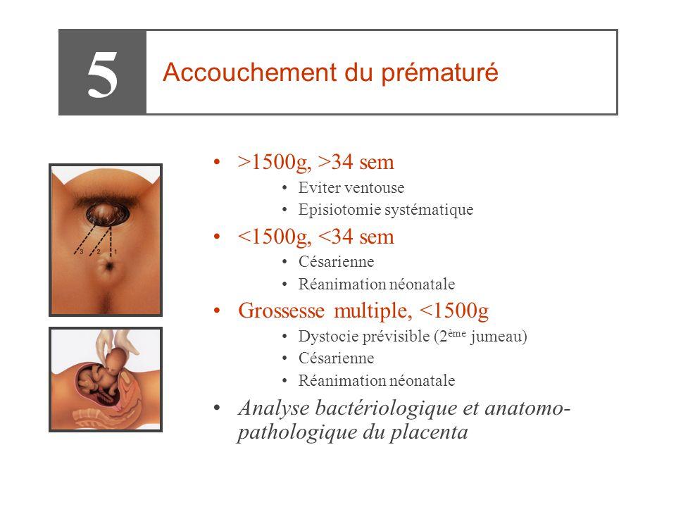 •>1500g, >34 sem •Eviter ventouse •Episiotomie systématique •<1500g, <34 sem •Césarienne •Réanimation néonatale •Grossesse multiple, <1500g •Dystocie