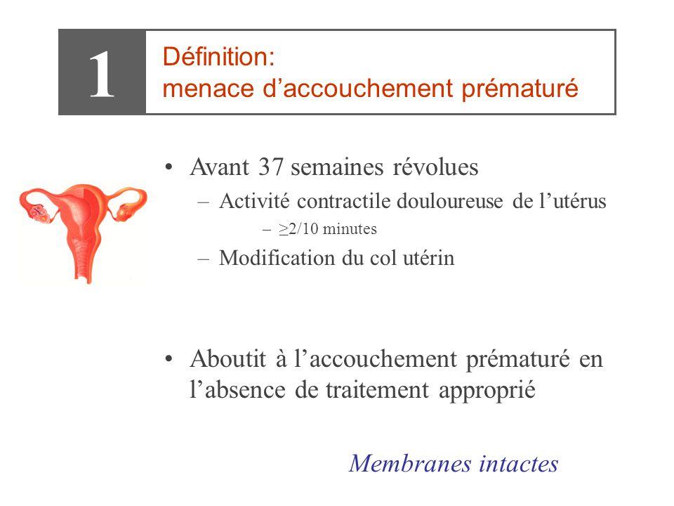 1 Définition: menace d'accouchement prématuré •Avant 37 semaines révolues –Activité contractile douloureuse de l'utérus –≥2/10 minutes –Modification d