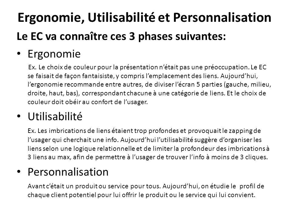 Ergonomie, Utilisabilité et Personnalisation Le EC va connaître ces 3 phases suivantes: • Ergonomie Ex. Le choix de couleur pour la présentation n'éta