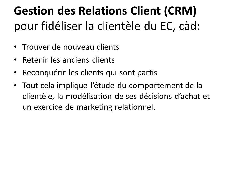 Gestion des Relations Client (CRM) pour fidéliser la clientèle du EC, càd: • Trouver de nouveau clients • Retenir les anciens clients • Reconquérir le
