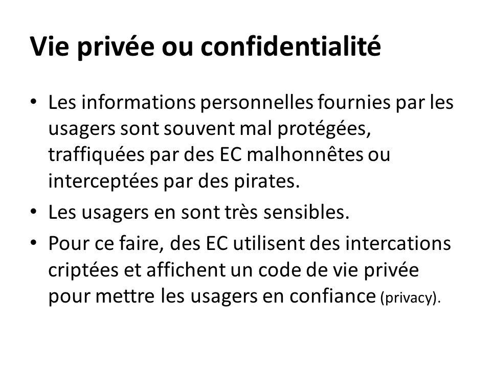 Vie privée ou confidentialité • Les informations personnelles fournies par les usagers sont souvent mal protégées, traffiquées par des EC malhonnêtes