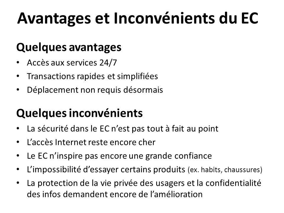 Avantages et Inconvénients du EC Quelques avantages • Accès aux services 24/7 • Transactions rapides et simplifiées • Déplacement non requis désormais