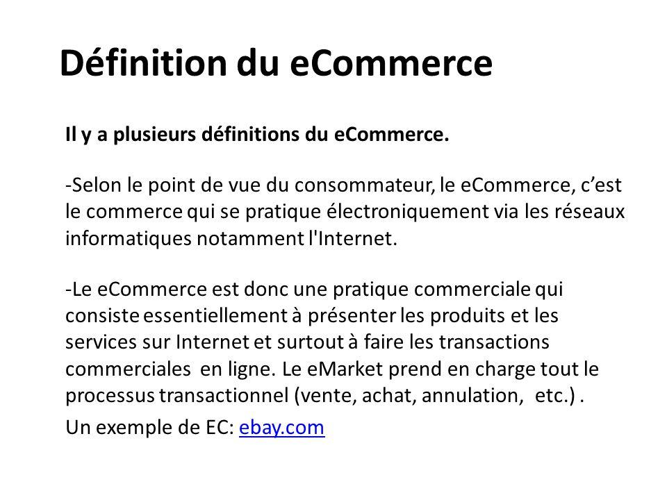 Définition du eCommerce Il y a plusieurs définitions du eCommerce. -Selon le point de vue du consommateur, le eCommerce, c'est le commerce qui se prat