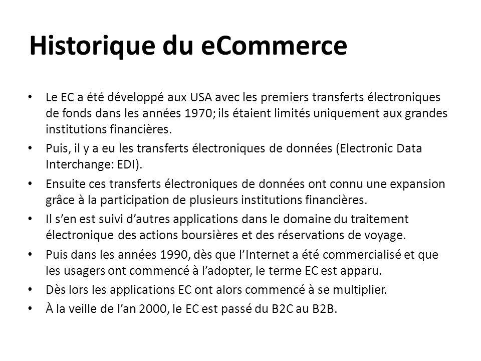 Historique du eCommerce • Le EC a été développé aux USA avec les premiers transferts électroniques de fonds dans les années 1970; ils étaient limités
