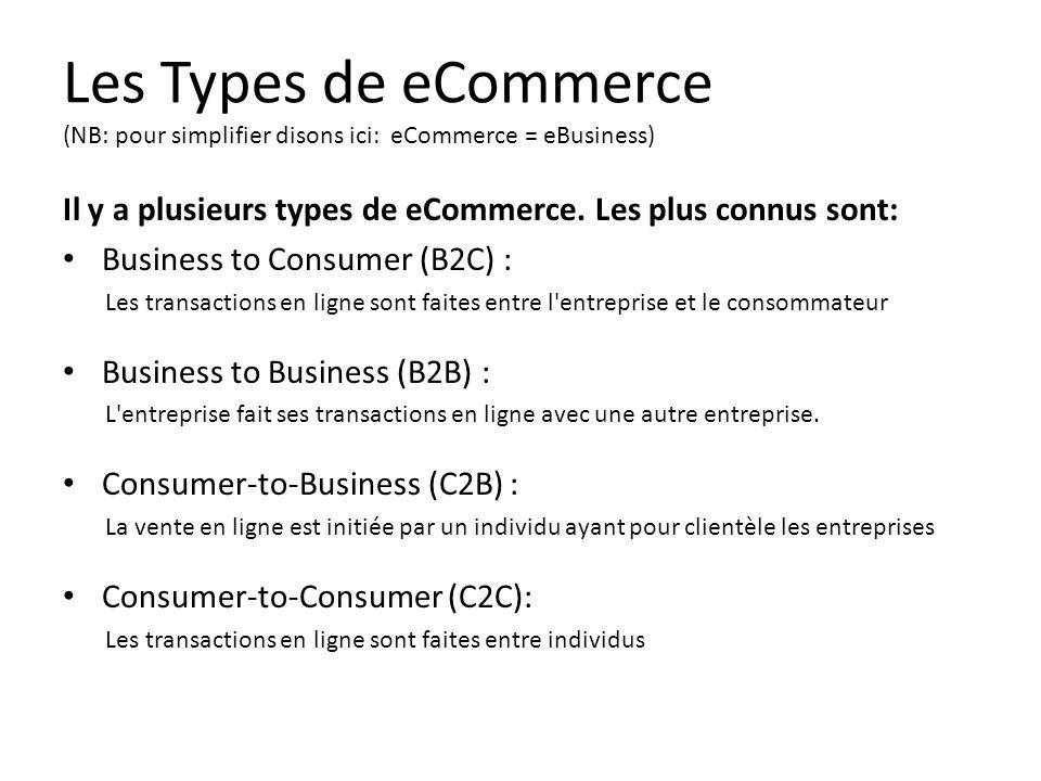 Les Types de eCommerce (NB: pour simplifier disons ici: eCommerce = eBusiness) Il y a plusieurs types de eCommerce. Les plus connus sont: • Business t