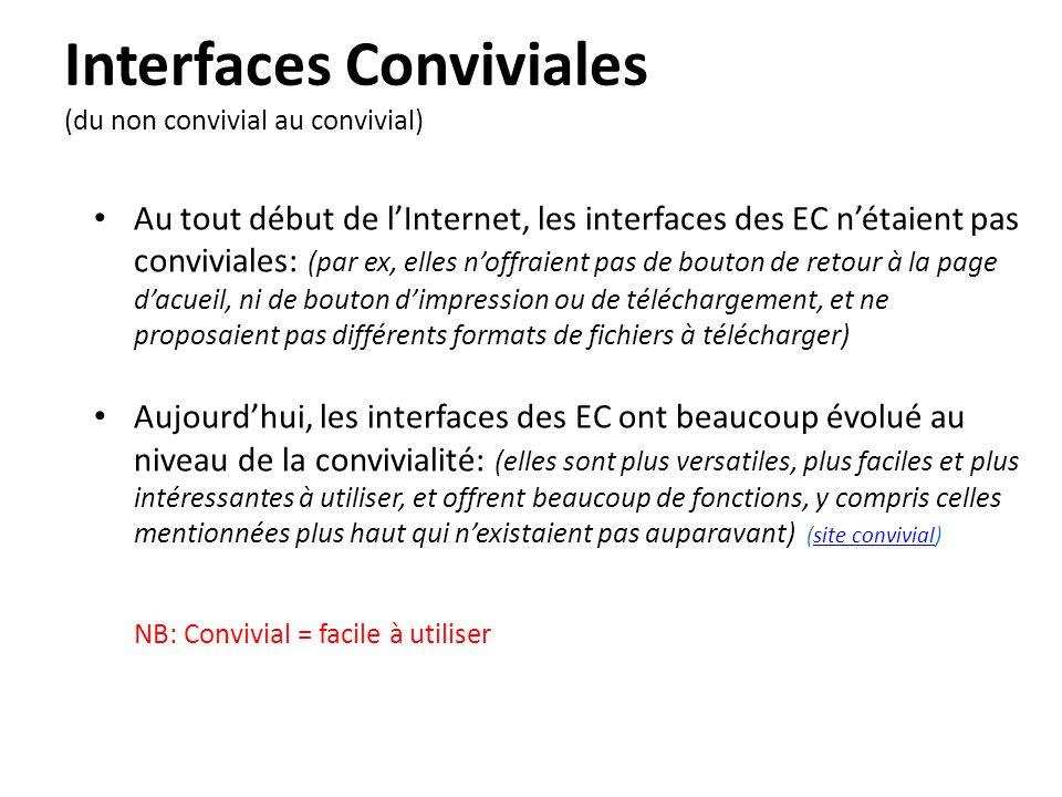Interfaces Conviviales (du non convivial au convivial) • Au tout début de l'Internet, les interfaces des EC n'étaient pas conviviales: (par ex, elles