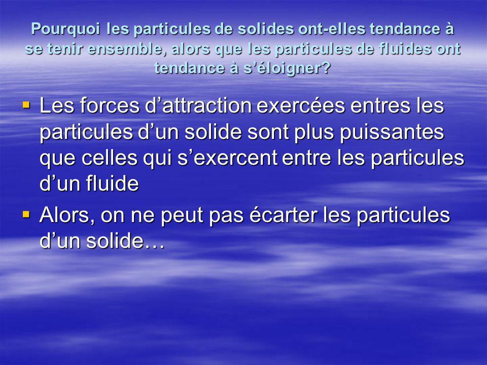  Les forces d'attraction exercées entres les particules d'un solide sont plus puissantes que celles qui s'exercent entre les particules d'un fluide 