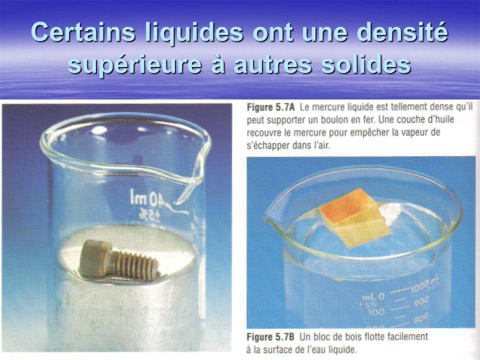Certains liquides ont une densité supérieure à autres solides