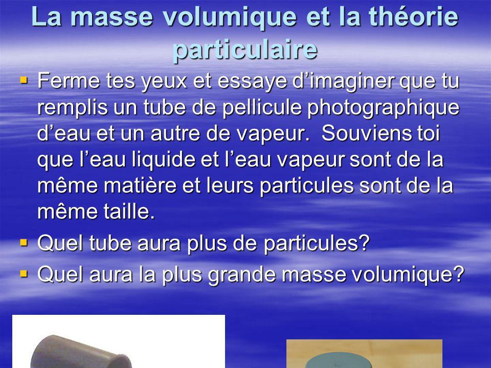 La masse volumique et la théorie particulaire  Ferme tes yeux et essaye d'imaginer que tu remplis un tube de pellicule photographique d'eau et un autre de vapeur.
