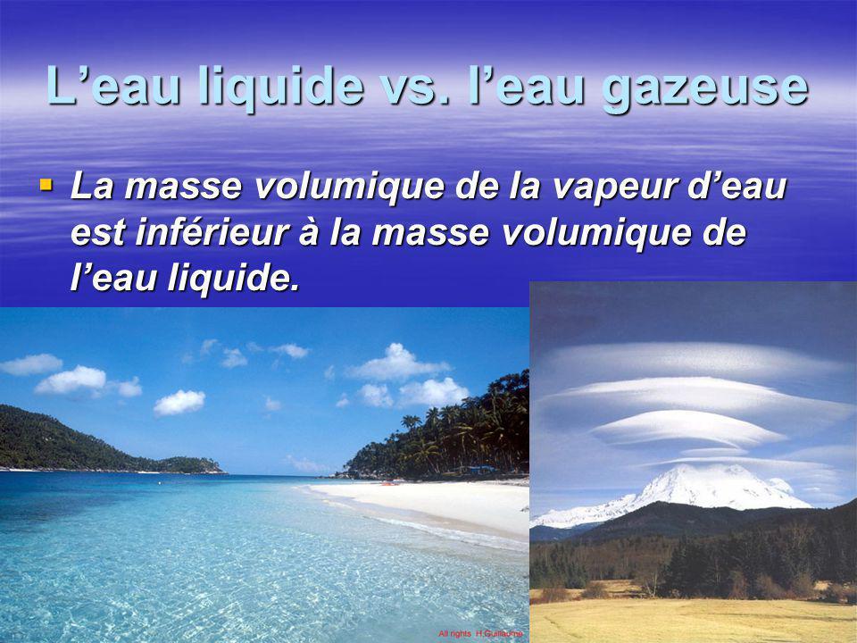 L'eau liquide vs. l'eau gazeuse  La masse volumique de la vapeur d'eau est inférieur à la masse volumique de l'eau liquide.
