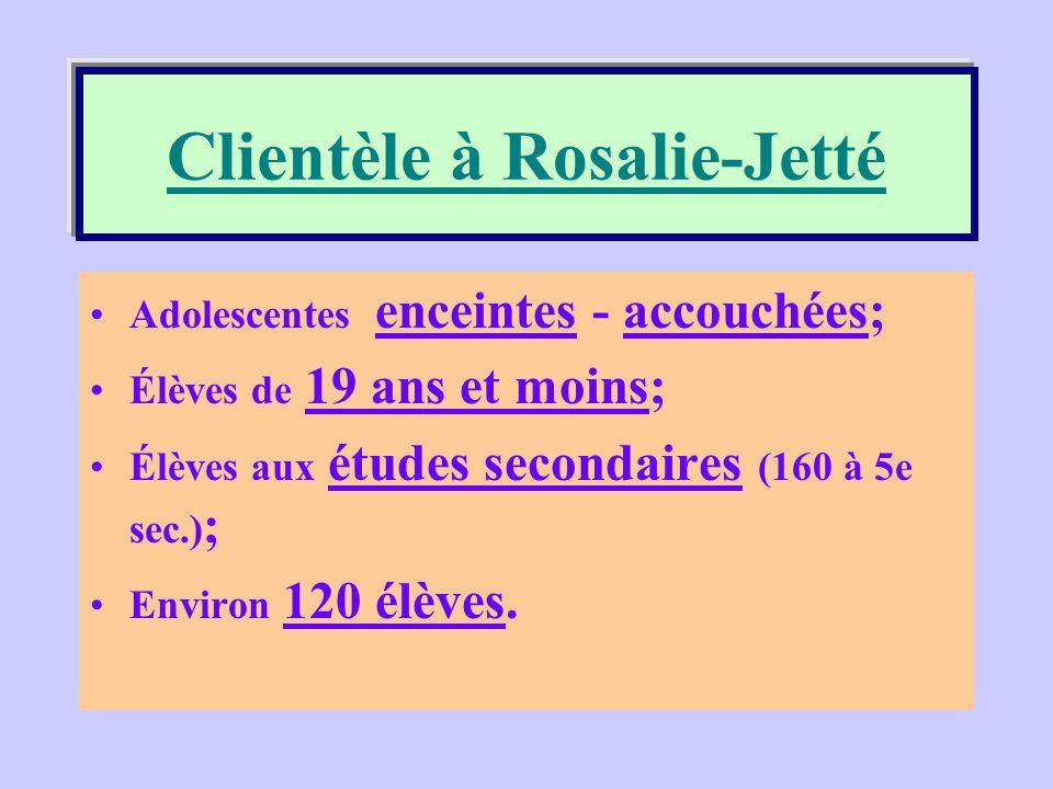 Clientèle à l'école Rosalie-Jetté
