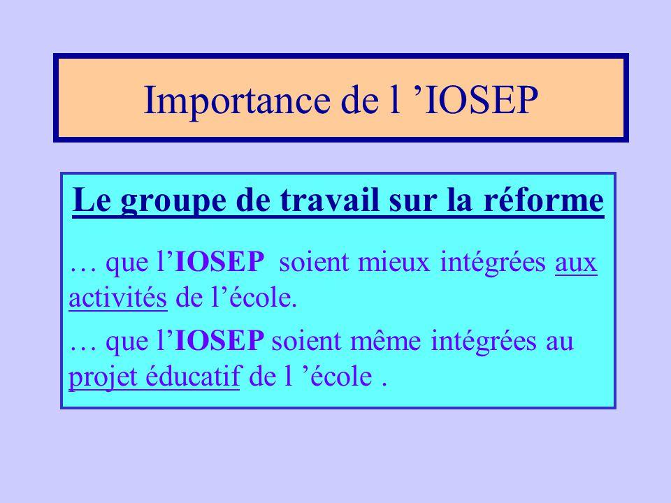 Importance de l'IOSEP •Avis du Conseil supérieur de l'éducation, 1988; •Plan d 'action sur la réussite éducative, 1992; •Rapport d 'action sur la réus