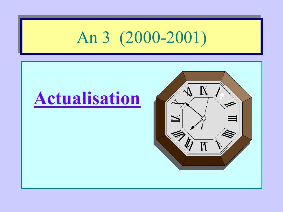 An 2 (1999-2000) •Réflexion: vers un modèle intégrateur; •Projet éducatif: valeurs - code de vie - école orientante •École orientante: concepts théori