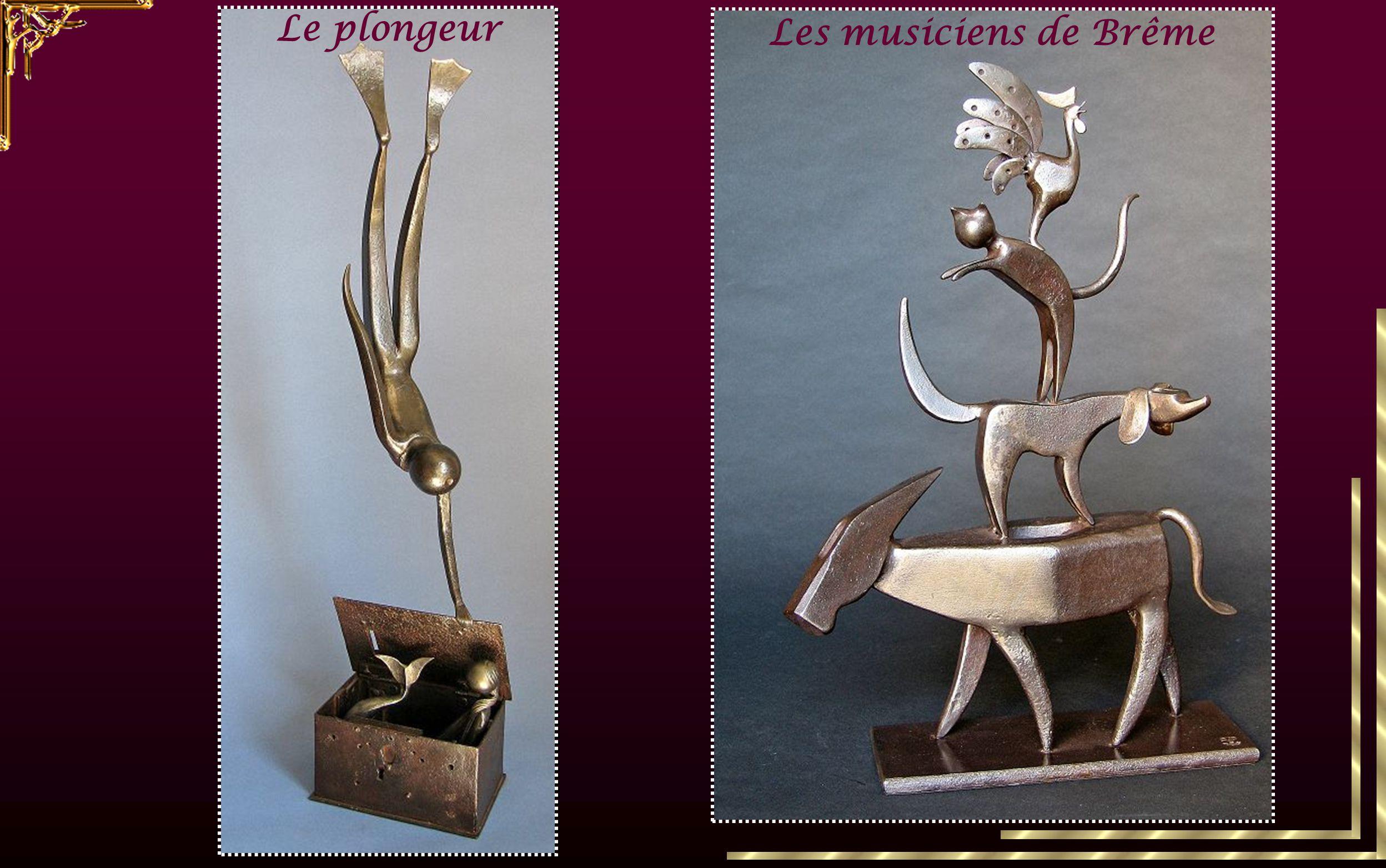 vieux outilsobjets de fer Le sculpteur trouve son inspiration dans de vieux outils ou des objets de fer qu'il transforme par assemblage en personnages