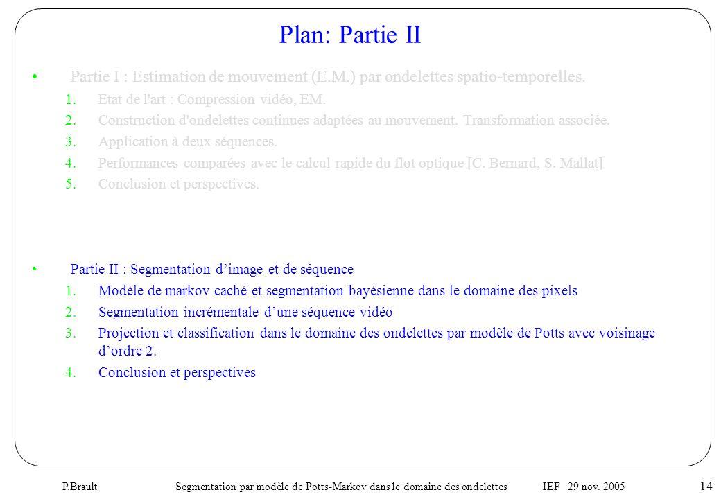 P.Brault Segmentation par modèle de Potts-Markov dans le domaine des ondelettes IEF 29 nov. 2005 14 •Partie I : Estimation de mouvement (E.M.) par ond