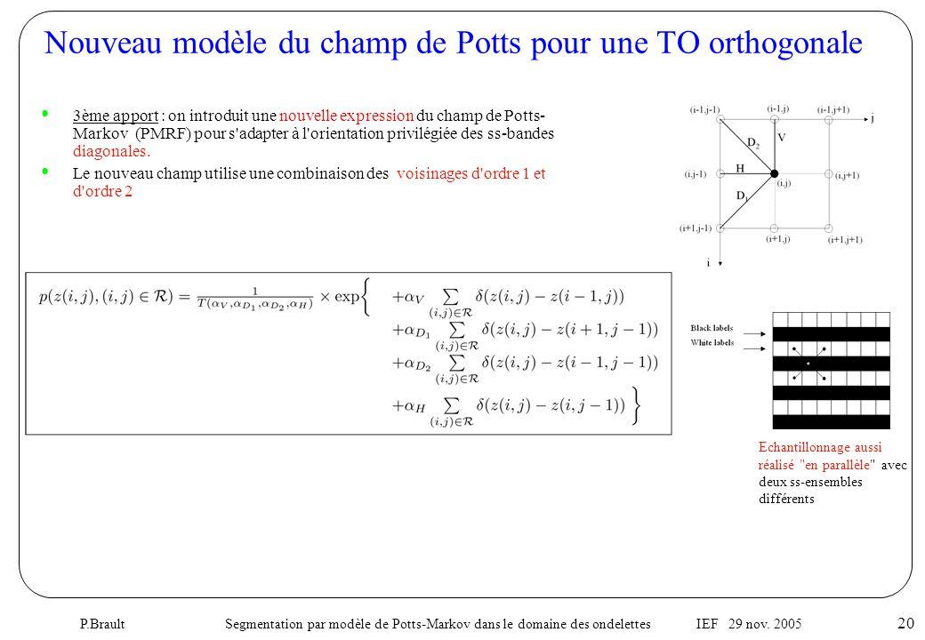 P.Brault Segmentation par modèle de Potts-Markov dans le domaine des ondelettes IEF 29 nov. 2005 20 Nouveau modèle du champ de Potts pour une TO ortho