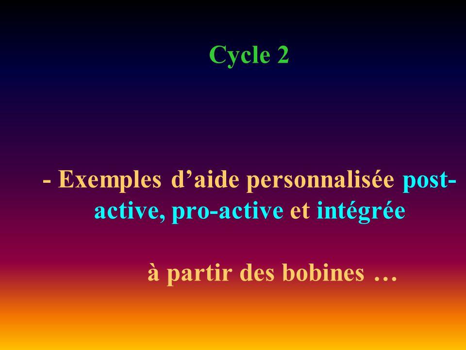 Cycle 2 - Exemples d'aide personnalisée post- active, pro-active et intégrée à partir des bobines …