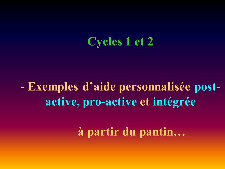 Cycles 1 et 2 - Exemples d'aide personnalisée post- active, pro-active et intégrée à partir du pantin…