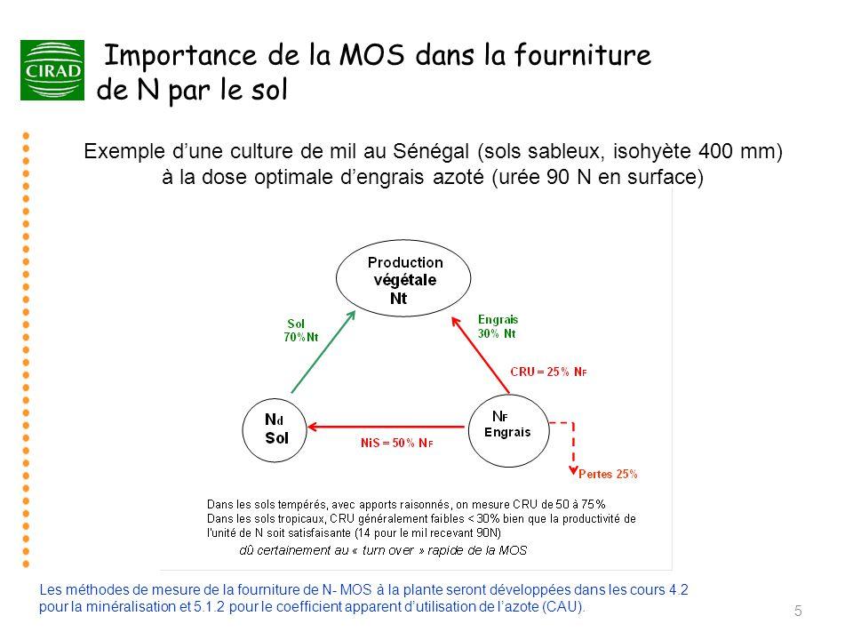 5 Importance de la MOS dans la fourniture de N par le sol Exemple d'une culture de mil au Sénégal (sols sableux, isohyète 400 mm) à la dose optimale d