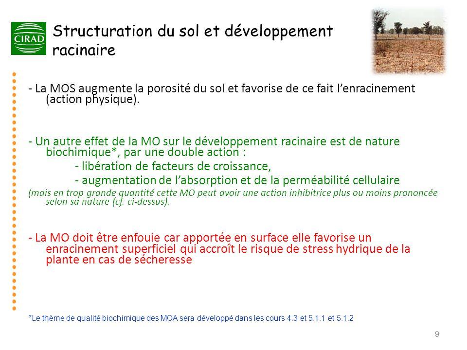 Structuration du sol et développement racinaire - La MOS augmente la porosité du sol et favorise de ce fait l'enracinement (action physique). - Un aut