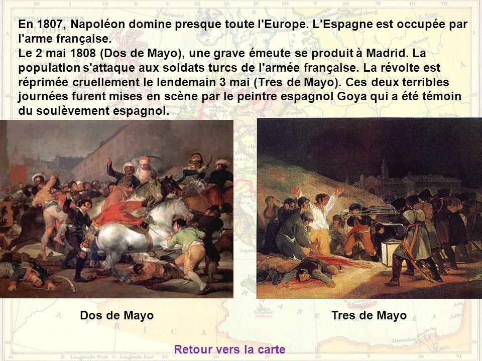 En 1807, Napoléon domine presque toute l'Europe. L'Espagne est occupée par l'arme française. Le 2 mai 1808 (Dos de Mayo), une grave émeute se produit