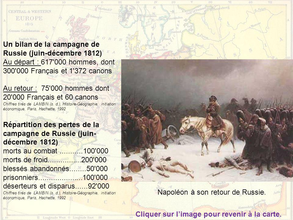 Napoléon à son retour de Russie. Un bilan de la campagne de Russie (juin-décembre 1812) Au départ : 617'000 hommes, dont 300'000 Français et 1'372 can