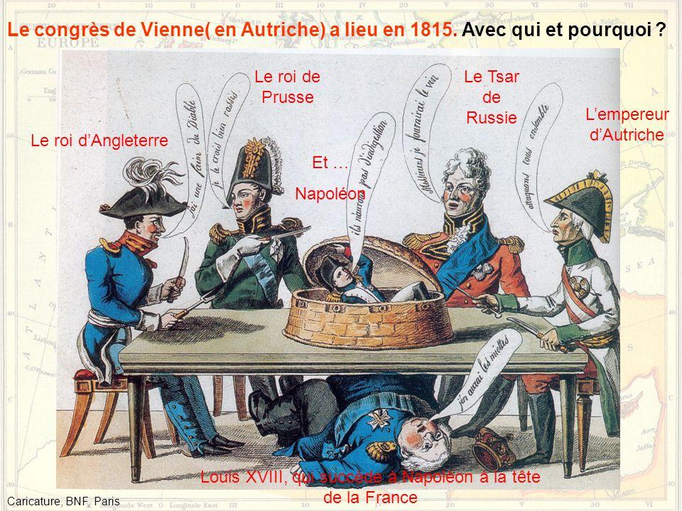 Le congrès de Vienne( en Autriche) a lieu en 1815. Avec qui et pourquoi ? Le roi d'Angleterre Le roi de Prusse Le Tsar de Russie L'empereur d'Autriche